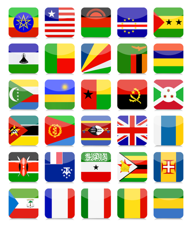 Africa Flags Flat Square Icon Set 2.All elements are separated in editable layers clearly labeled.