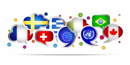 World flags bubble speech shapes. Set 2. Vector illustration.