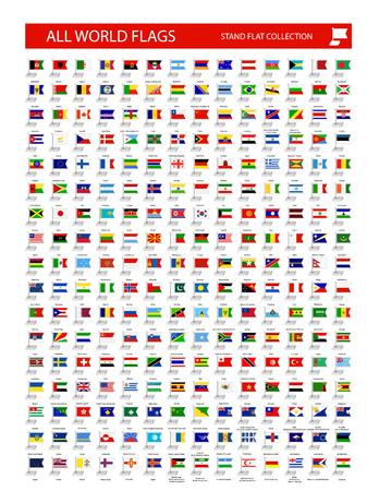 Stand bandiera icona. Tutte le bandiere dei paesi del mondo. Tutti i flag sono organizzati per livelli con ogni flag su un singolo livello con un nome appropriato.