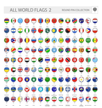 Icone a spillo rotonde di tutte le bandiere del mondo. Parte 2. Raccolta di vettore di tutte le bandiere del mondo. Vettoriali
