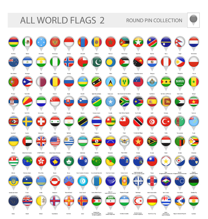Round Pin Icons of All World Flags. Part 2. All World Flags Vector Collection. Vektorové ilustrace