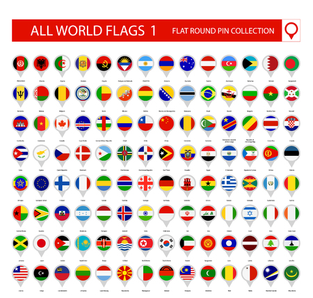 Flat Round Pin Icons of All World Flags. Part 1. All World Flags Vector Collection.