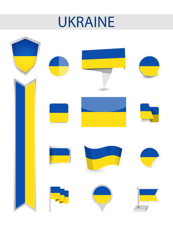 Ukraine Flag Collection. Flat flags vector illustration.