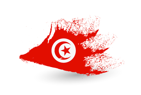 Hand drawn style flag of Tunisia. Brush painted illustration with a grunge effect.