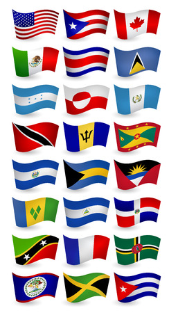 Americas country flying flags set.Vector illustration.