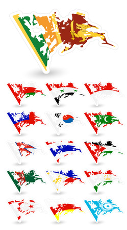 Bad condition flags of Asia. Set 3.All elements are separated in editable layers clearly labeled. Illustration