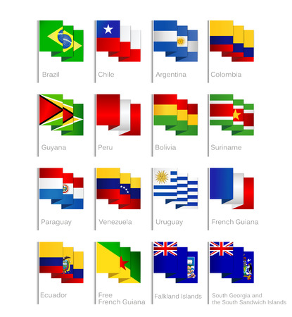 South America flags set of all continent countries and overseas territories.Flat Cartoon Style. Ilustração