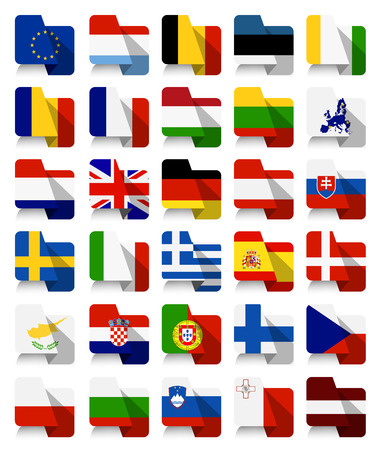 Flat Design European Union Waving Flags.All elements are separated in editable layers clearly labeled.