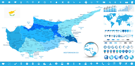 Cyprus Map and infographic elements. Detailed vector illustration of Cyprus map and infographic elements.