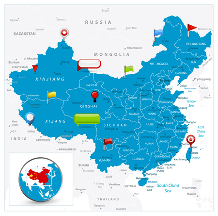 China Map and glossy icons on map. Detailed vector illustration of map.