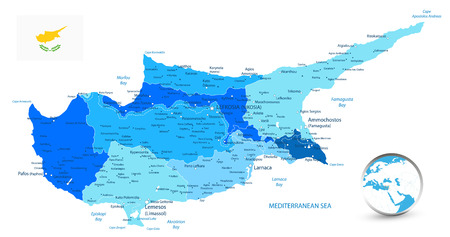 Cyprus Political Map in colors of blue. Detail administrative vector map of Cyprus.