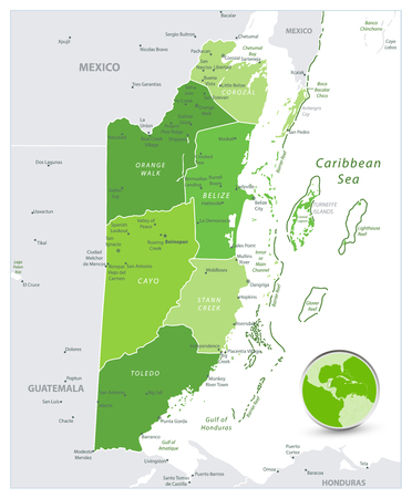Belize Map Spot Green Colors. Spot Green Colors map of Belize isolated on white. Vector illustration with english labeling and scale.