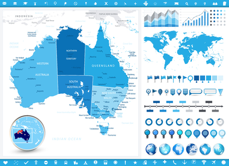 Australia Map and infographic elements. Detailed vector illustration of map. Illustration