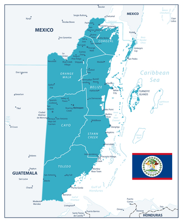 Belize Map. Aqua blue color. Detailed map of Belize with the capital Belmopan, national borders, most important cities. Imagens - 114431484