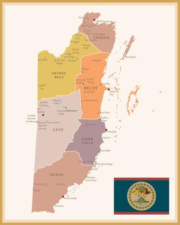 Vintage Map of Belize with flag. Highly detailed vector illustration. Vetores