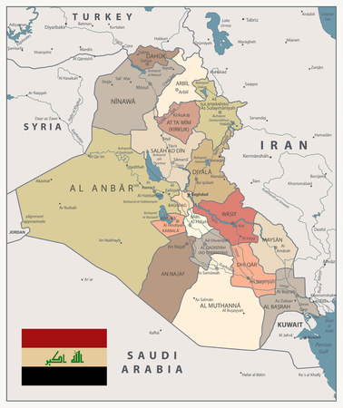 Iraq Map Vintage Color Map with capital Baghdad, national borders, important cities, rivers and lakes. Illustration