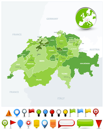 Switzerland Map Spot Green Colors and glossy icons. Detailed vector illustration of map.