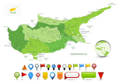 Cyprus Map Spot Green Colors and Glossy Map Icons. Detail administrative vector map of Cyprus Spot Green Colors. 矢量图像