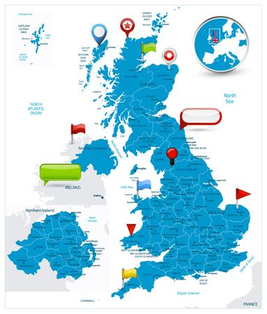 Mappa della Gran Bretagna e icone lucide sulla mappa. Illustrazione vettoriale dettagliata della mappa. Vettoriali