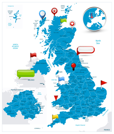 Great Britain Map and glossy icons on map. Detailed vector illustration of map.