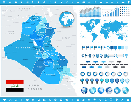 Iraq Map and infographic elements. Detailed vector illustration of Iraq map and infographic elements.