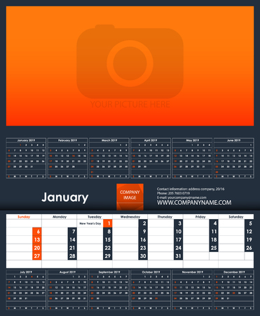 2019 Calendar template. January. Place for your photo. Business Planner Template. Stationery Design. Week starts Sunday. 1 large month on the page and all year little months. Vector Illustration.