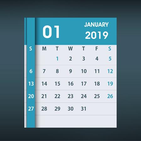 January 2019 Calendar Leaf. Flat design. Monthly calendar design template. Week starts on Sunday. Business vector illustration. Ilustrace