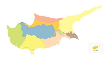 Cyprus Political Map isolated on white. No text. Detail administrative blank vector map of Cyprus.