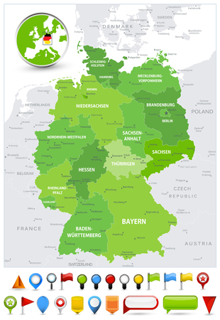 Germany Map Spot Green Colors and glossy icons. Detailed vector illustration of map. Illustration