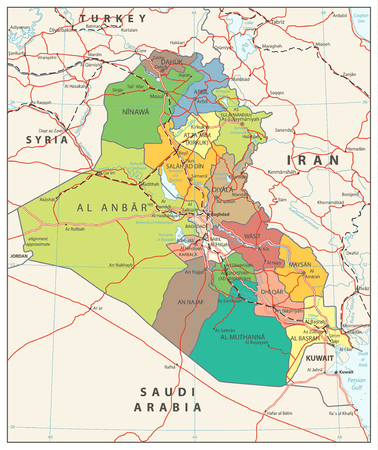 Iraq political map with capital Baghdad, national borders, important cities, rivers and lakes. English labelling. Illustration.