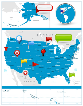 USA Map and glossy icons on map. Detailed vector illustration of map.