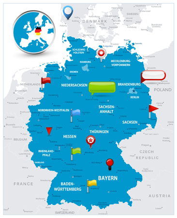Germany Map and glossy icons on map. Detailed vector illustration of map.