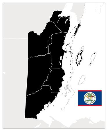 Belize Blank Black Map. Detailed map of Belize. No text. Vector illustration. Vetores