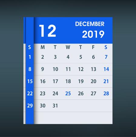 December 2019 Calendar Leaf. Flat design. Monthly calendar design template. Week starts on Sunday. Business vector illustration. Ilustrace