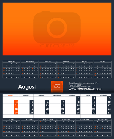 2019 Calendar template. August. Place for your photo. Business Planner Template. Stationery Design. Week starts Sunday. 1 large month on the page and all year little months. Vector Illustration