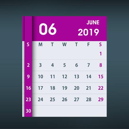 June 2019 Calendar Leaf. Flat design. Monthly calendar design template. Week starts on Sunday. Business vector illustration.