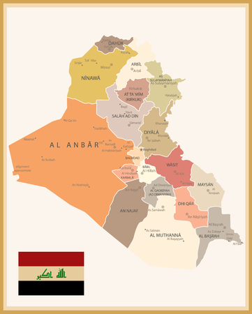 Vintage Map of Iraq with flag. Map of Iraq in vintage color. Ilustrace