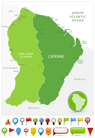 French Guiana Map Spot Green Colors and glossy icons. Detailed vector illustration of map.