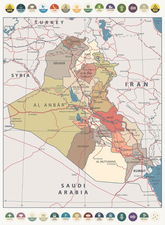 Iraq Map Vintage Color Map and round flat icons with capital Baghdad, national borders, important cities, rivers and lakes, highways.