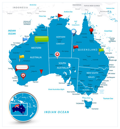 Australia Map and glossy icons on map. Detailed vector illustration of map. Ilustração