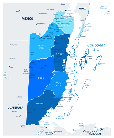 Belize Political Map in colors of blue. Detailed map of Belize with the capital Belmopan, national borders,most important cities. Vector illustration with english labeling and scale.