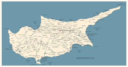Cyprus Map Old Color. Detail vector map of Cyprus.