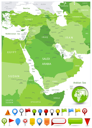 Middle East Map Spot Green Colors and glossy icons. Detailed vector illustration of map. Ilustrace