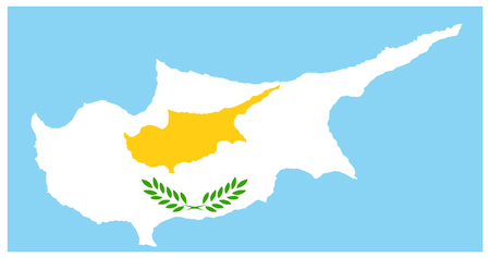 Cyprus Map with flag. Detail vector map with flag of Cyprus.