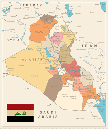 Administrative Map of Iraq Vintage Color with capital Baghdad, national borders, important cities, rivers and lakes. Ilustrace