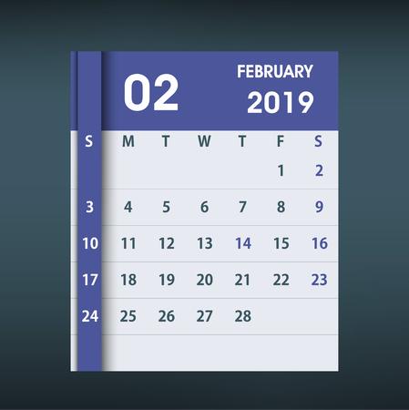 February 2019 Calendar Leaf. Flat design. Monthly calendar design template. Week starts on Sunday. Business vector illustration.