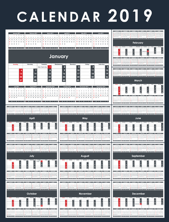 Calendar Template for 2019 Year. Set of 12 Months. Business Planner Template. Stationery Design. Week starts Sunday. 1 large month on the page and all year little months. Vector Illustration