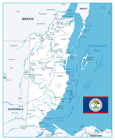 Belize White Color Map. Detailed white color map of Belize with the capital Belmopan, national borders, most important cities, rivers and lakesng and scale. Illustration
