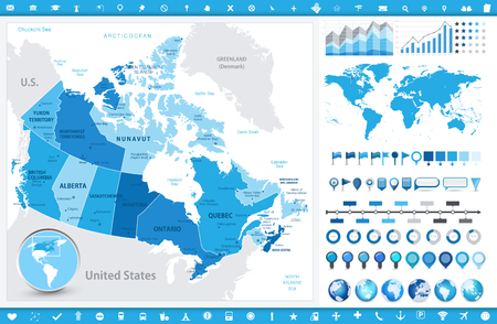 Canada Map and infographic elements. Detailed vector illustration of map.