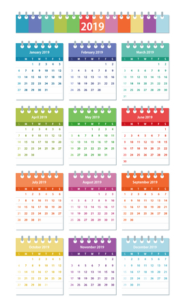 2019 year Calendar Leaves Flat Set. Colorful set. Monthly calendar design template. All monthes. Week starts on Sunday. Business vector illustration.